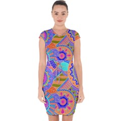 Pop Art Paisley Flowers Ornaments Multicolored 3 Capsleeve Drawstring Dress
