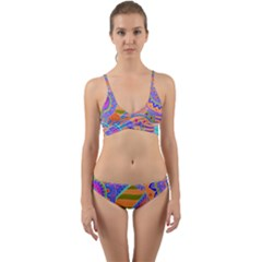 Pop Art Paisley Flowers Ornaments Multicolored 3 Wrap Around Bikini Set
