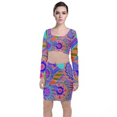 Pop Art Paisley Flowers Ornaments Multicolored 3 Long Sleeve Crop Top & Bodycon Skirt Set