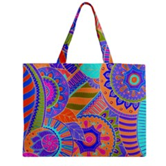 Pop Art Paisley Flowers Ornaments Multicolored 3 Medium Tote Bag by EDDArt