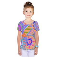 Pop Art Paisley Flowers Ornaments Multicolored 3 Kids  One Piece Tee