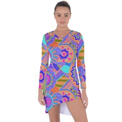 Pop Art Paisley Flowers Ornaments Multicolored 3 Asymmetric Cut Out Shift Dress