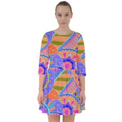 Pop Art Paisley Flowers Ornaments Multicolored 3 Smock Dress