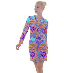 Pop Art Paisley Flowers Ornaments Multicolored 3 Button Long Sleeve Dress