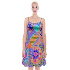 Pop Art Paisley Flowers Ornaments Multicolored 3 Spaghetti Strap Velvet Dress