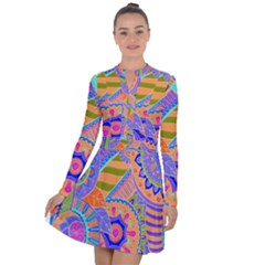 Pop Art Paisley Flowers Ornaments Multicolored 3 Long Sleeve Panel Dress