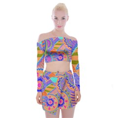 Pop Art Paisley Flowers Ornaments Multicolored 3 Off Shoulder Top With Mini Skirt Set by EDDArt