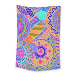 Pop Art Paisley Flowers Ornaments Multicolored 3 Small Tapestry