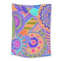 Pop Art Paisley Flowers Ornaments Multicolored 3 Medium Tapestry by EDDArt