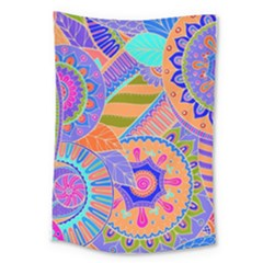 Pop Art Paisley Flowers Ornaments Multicolored 3 Large Tapestry by EDDArt
