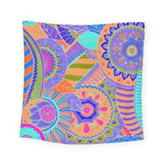 Pop Art Paisley Flowers Ornaments Multicolored 3 Square Tapestry (small) by EDDArt