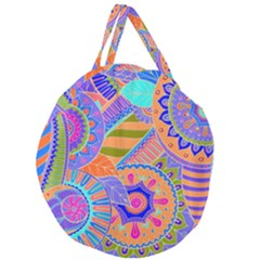 Pop Art Paisley Flowers Ornaments Multicolored 3 Giant Round Zipper Tote by EDDArt