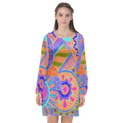 Pop Art Paisley Flowers Ornaments Multicolored 3 Long Sleeve Chiffon Shift Dress