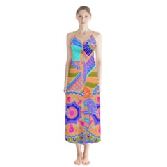 Pop Art Paisley Flowers Ornaments Multicolored 3 Button Up Chiffon Maxi Dress