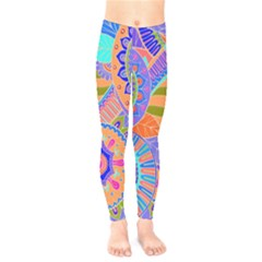 Pop Art Paisley Flowers Ornaments Multicolored 3 Kids  Legging by EDDArt