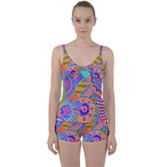 Pop Art Paisley Flowers Ornaments Multicolored 3 Tie Front Two Piece Tankini
