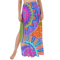 Pop Art Paisley Flowers Ornaments Multicolored 3 Maxi Chiffon Tie Up Sarong