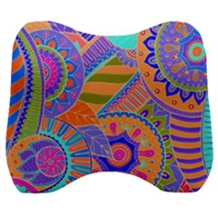 Pop Art Paisley Flowers Ornaments Multicolored 3 Velour Head Support Cushion