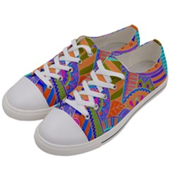 Pop Art Paisley Flowers Ornaments Multicolored 3 Women s Low Top Canvas Sneakers by EDDArt