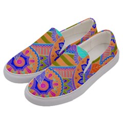 Pop Art Paisley Flowers Ornaments Multicolored 3 Men s Canvas Slip Ons by EDDArt