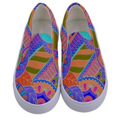 Pop Art Paisley Flowers Ornaments Multicolored 3 Kids  Canvas Slip Ons