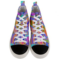 Pop Art Paisley Flowers Ornaments Multicolored 3 Men s Mid Top Canvas Sneakers