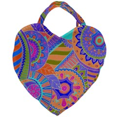Pop Art Paisley Flowers Ornaments Multicolored 3 Giant Heart Shaped Tote