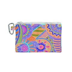 Pop Art Paisley Flowers Ornaments Multicolored 3 Canvas Cosmetic Bag (small) by EDDArt