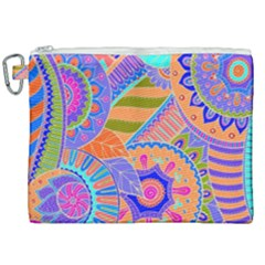 Pop Art Paisley Flowers Ornaments Multicolored 3 Canvas Cosmetic Bag (xxl) by EDDArt