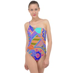 Pop Art Paisley Flowers Ornaments Multicolored 3 Classic One Shoulder Swimsuit