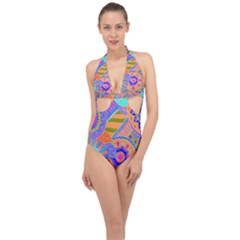 Pop Art Paisley Flowers Ornaments Multicolored 3 Halter Front Plunge Swimsuit by EDDArt