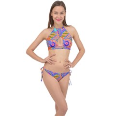 Pop Art Paisley Flowers Ornaments Multicolored 3 Cross Front Halter Bikini Set