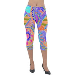 Pop Art Paisley Flowers Ornaments Multicolored 3 Lightweight Velour Capri Leggings  by EDDArt