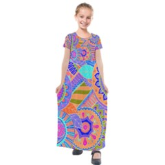 Pop Art Paisley Flowers Ornaments Multicolored 3 Kids  Short Sleeve Maxi Dress