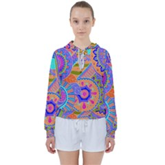 Pop Art Paisley Flowers Ornaments Multicolored 3 Women s Tie Up Sweat