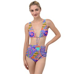 Pop Art Paisley Flowers Ornaments Multicolored 3 Tied Up Two Piece Swimsuit