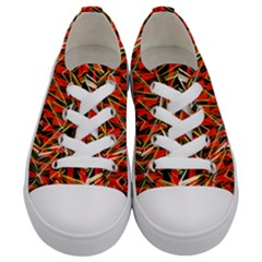 Red Triangles Zig Zags Many Layers Created By Flipstylezdesigns Kids  Low Top Canvas Sneakers