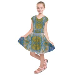 Cosmic Waters Warp Kids  Short Sleeve Dress