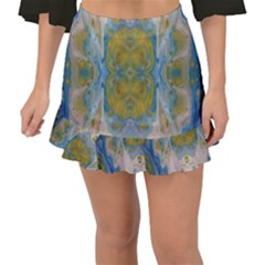 Cosmic Waters Warp Fishtail Mini Chiffon Skirt