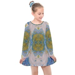 Cosmic Waters Warp Kids  Long Sleeve Dress