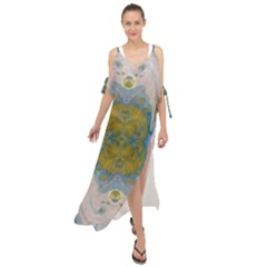Cosmic Waters Warp Maxi Chiffon Cover Up Dress