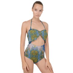 Cosmic Waters Warp Scallop Top Cut Out Swimsuit