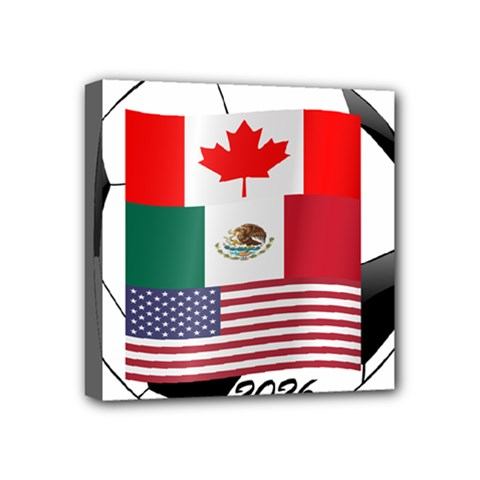 United Football Championship Hosting 2026 Soccer Ball Logo Canada Mexico Usa Mini Canvas 4  X 4  by yoursparklingshop