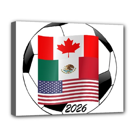 United Football Championship Hosting 2026 Soccer Ball Logo Canada Mexico Usa Deluxe Canvas 20  X 16   by yoursparklingshop