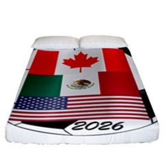 United Football Championship Hosting 2026 Soccer Ball Logo Canada Mexico Usa Fitted Sheet (california King Size) by yoursparklingshop