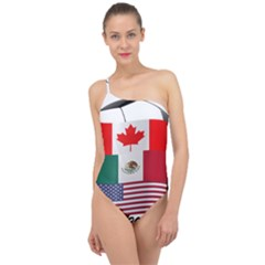 United Football Championship Hosting 2026 Soccer Ball Logo Canada Mexico Usa Classic One Shoulder Swimsuit