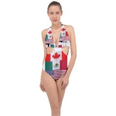 United Football Championship Hosting 2026 Soccer Ball Logo Canada Mexico Usa Halter Front Plunge Swimsuit