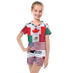 United Football Championship Hosting 2026 Soccer Ball Logo Canada Mexico Usa Kids  Mesh Tee And Shorts Set by yoursparklingshop