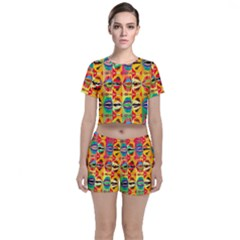 Colorful Shapes                                    Crop Top And Shorts Co Ord Set