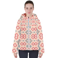 Tribal Shapes                                         Women s Hooded Puffer Jacket by LalyLauraFLM